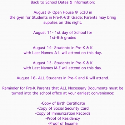 Back to School Dates & Information